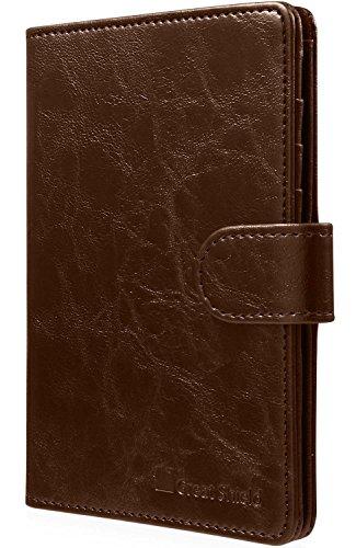 RFID Blocking Passport Holder (9 Slots), GreatShield Theft Proof Leather Wallet [5 Credit Card Slots | 3 Cash Compartments | 1 Passport Slot] for Men & Women – Brown by GreatShield (Image #6)
