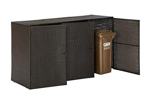 Mülltonnenbox für 3x Tonnen bis 120 Liter, 189x66x109cm, Stahl + Polyrattan Geflecht braun