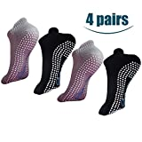 4. H-Brotaco Non Slip Skid Socks with Grips for Yoga,Barre Pilates,PiYo,Men and Women,2Pack Black and 2Pack Gray