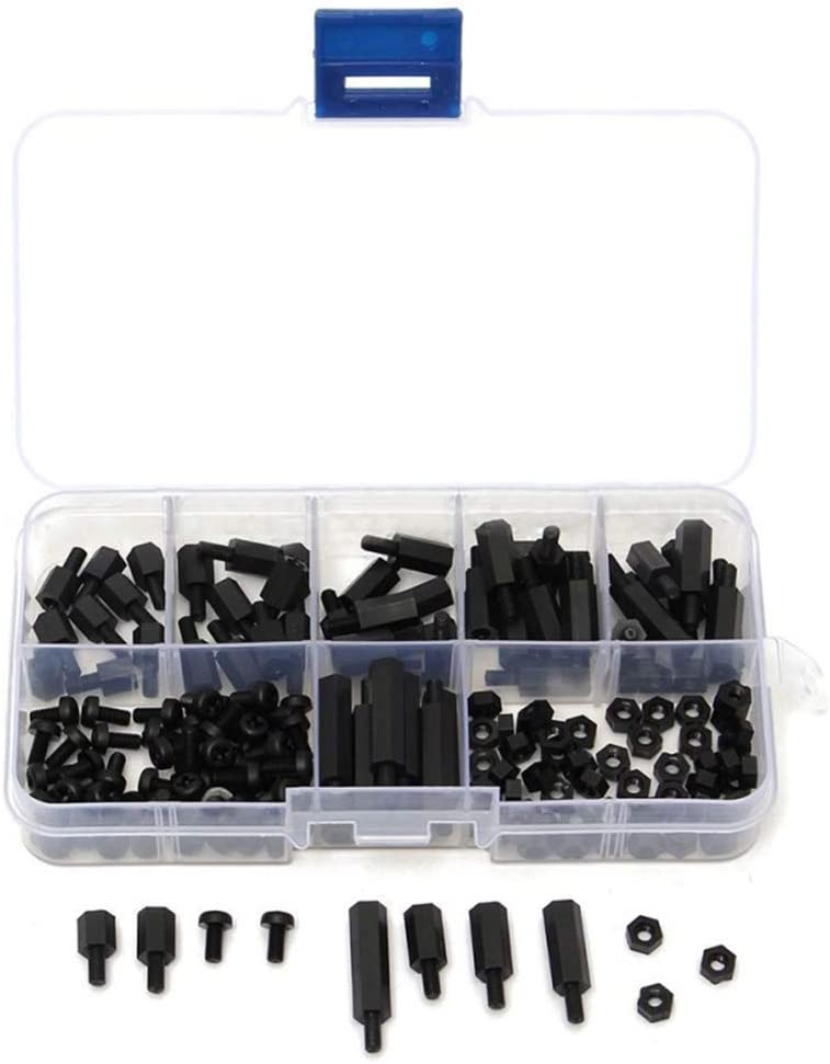 XISAOK 300Pieces//Box M3 Black Nylon Hex Screw Flat Head Spacing Screw Nut PieceB Standoff Kit