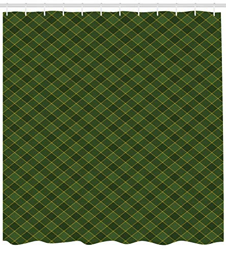 Virsa Green Shower Curtain, Traditional Old Fashioned Argyle Pattern Retro Style Plaid, Fabric Bathroom Decor Set with Hooks, 72Inches, Hunter Green Forest Green Yellow ()