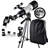 Telescope 70mm Apeture Travel Scope 400mm AZ Mount - Good Partner to View Moon Planet - Good Travel Telescope Backpack Kids Beginners