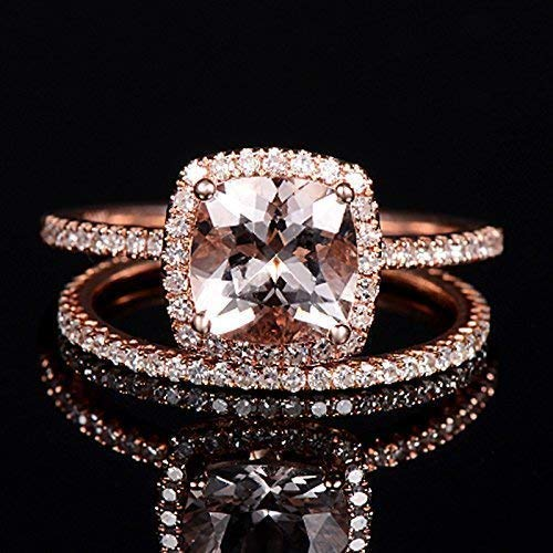 2ae04b06389d3 Amazon.com: Rose Gold Ring Morganite Wedding Set Cushion Cut 7mm ...