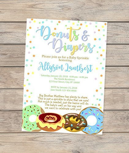 Donuts And Diapers Invitations, Donuts and Diapers Baby Sprinkle Invitation, Custom Donuts Baby Shower Invites For Baby Boy ()