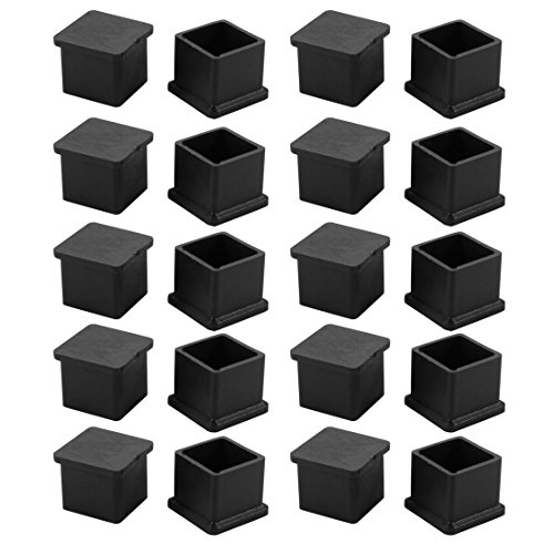 uxcell 20pcs 21x21mm Black PVC Rubber Square Cabinet Leg Insert Cover Protector by uxcell