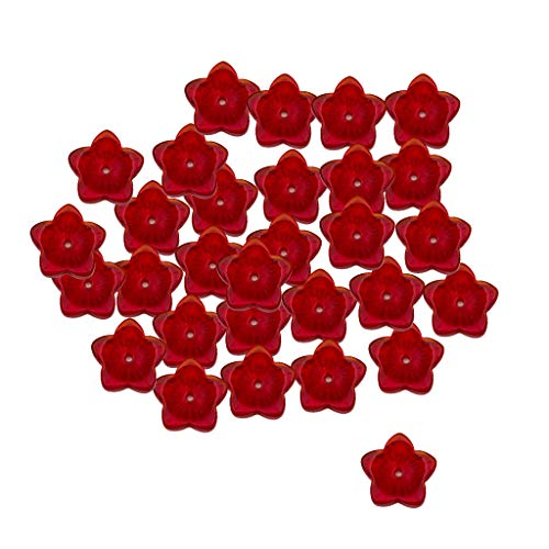 Fenteer Beading Czech Glass Beads- 12mm Flower Stars Loose Beads for DIY Bracelets,Necklaces,Earrings, Hair Accessories and Jewelry Making Pack of 30 Pieces - Red ()