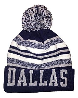 Dallas Cuffed Striped Knit Hat with Pom
