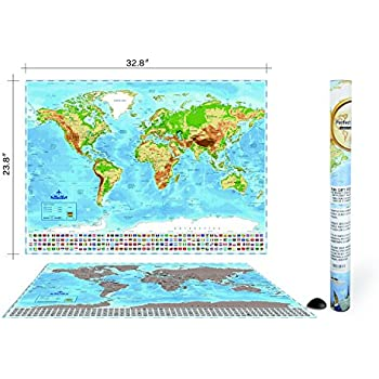 Wonderful Maps Scratch Off World Map With Country Flags Us States Australian States And