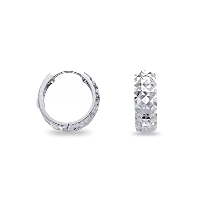 40a26489c33fb Amazon.com: Round Dome Huggie Hoop Earrings Solid 14k White Gold ...
