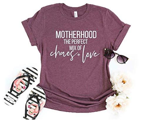 [해외]여성의 어머니의 날 어머니는 혼돈의 완벽 한 조화를 사랑 하는 T 셔츠 캐주얼 티 탑 스 (소) / Women Mother`s Day Motherhood The Perfect Mix of Chaos & Love T Shirt Casual Tee Tops (Small)