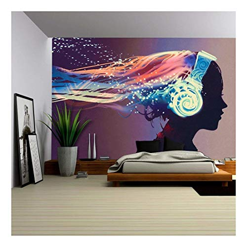 wall26 - Woman with Magic Glowing Headphones on Dark Background,Illustration Painting - Removable Wall Mural   Self-adhesive Large Wallpaper - 100x144 ()