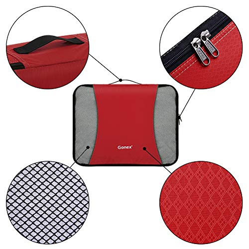 Gonex Packing Cubes Travel Luggage Packing Organizer,Shoe Bag included(Red)