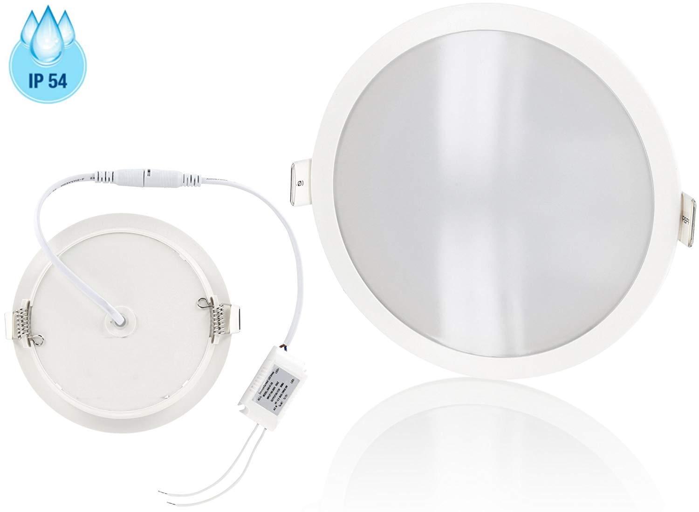LED Trafo f/ür 230V /Ø150mm x 30mm flach warmwei/ß Ultraslim LED Panel Feuchtraum Einbauleuchte IP54 10W 800lm 2900 K incl