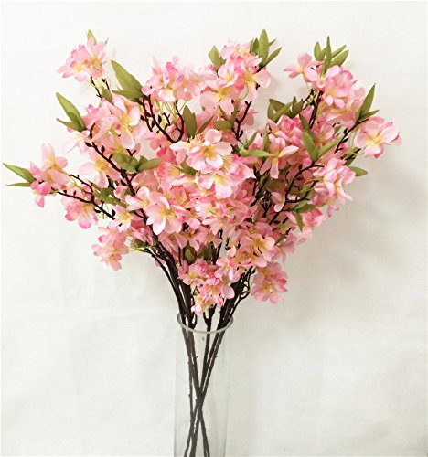 jiumengya 6pcs Fake Apple Blossom Flower Branch Begonia Apple Tree Stem for Event Wedding Tree Artificial Decorative Flowers (Pink)
