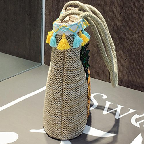 Fashion Pattern Hand Handbag With Bag Bags Beach Woven Pineapple Bohemian Tassel Summer Straw Totes Shoulder Single Bucket w4IYSqqpx