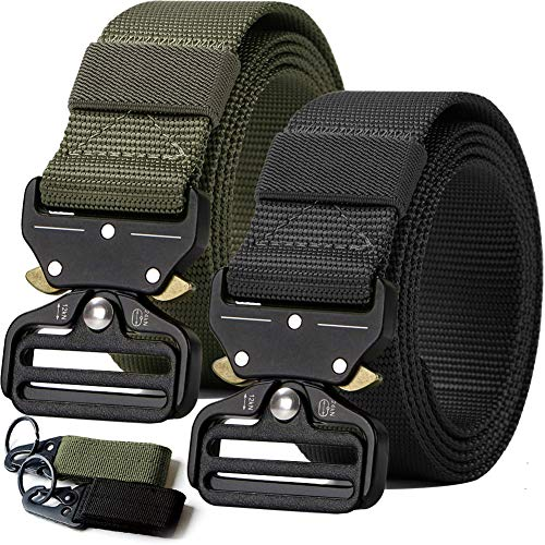 (2PCS Tactical Belt,Military Style Webbing Riggers Web Gun Belt with Heavy-Duty Quick-Release Metal Buckle With 2 Keychains)