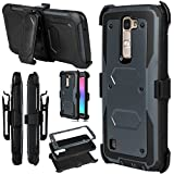LG Escape 3 Case, LG Phoenix 2 Case, LG K8 Case, Venoro Hybrid Full Body Heavy Duty Armor Holster Defender Case Cover with Kickstand and Swivel Belt Clip (Grey)