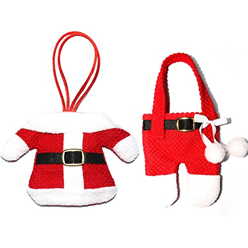 Adral Cute Christmas Decor Pockets Dinner Knife Fork Holders Santa Claus Ornament (2pc) (Apron Of Wines 12 Christmas)