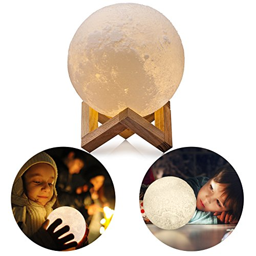 3D Moon Lamp with Stand, LinkStyle Rechargeable Home Decorative Hanging Light with Wooden Dock Touch Control 2 Colors Dimmable Brightness USB Charging Diameter 3.1 inch