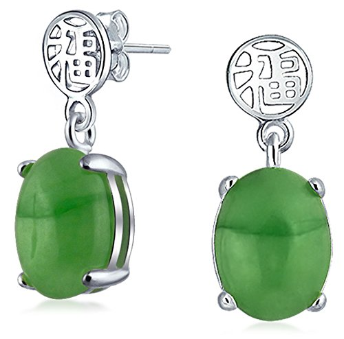 Asian Style Dyed Green Jade Chinese Good Fortune Dangle Drop Earrings For Women 925 Sterling Silver