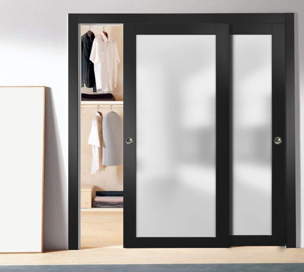 Sturdy Finished Modern Doors Slab Barn Door Panel Frosted Glass Lite 18 x 80 inches Planum 2102 Black Matte Pocket Closet Sliding