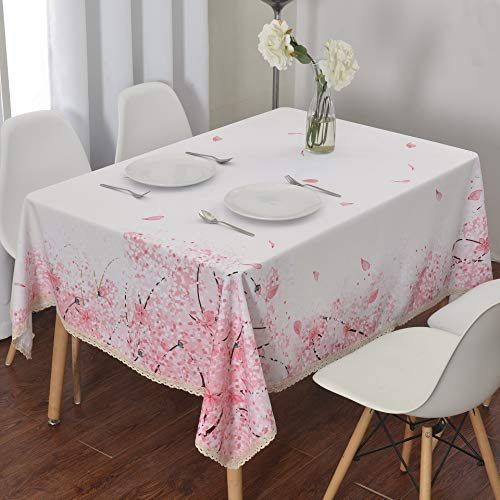 Wewoch Decorative Cherry Blossom Floral Print Polyester Rectangle Tablecloth Waterproof Fabric Lace Table Cloth, Table Cover for Dining Room and Party (60x84­-Inch)