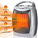 1500W/700W Portable Ceramic Space Heater, Electric Heater with Overheats & Tip-Over Protection, Personal Heater with Adjustable Thermostat and Carry Handle for Office Home Indoor