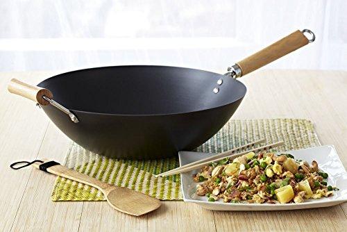Wok Carbon Steel 12 Inch Non Stick w/ Wooden Handles Fry Cookware Pan Pot