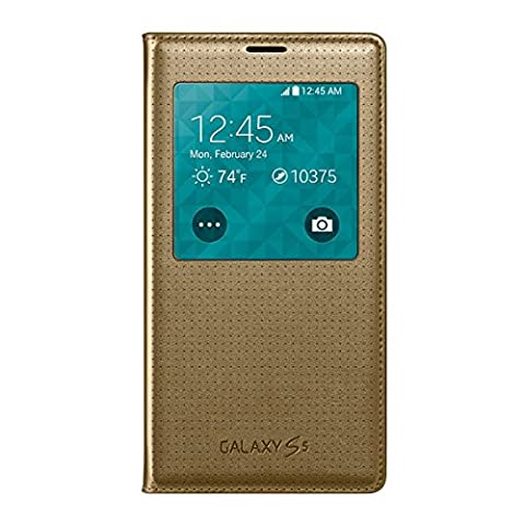 Samsung Galaxy S5 S View Flip Cover Case - Retail Packaging - Copper Gold (Flip Cover Cases For Galaxy S5)
