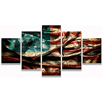 Amazon.Com: Retro American Flag Canvas Print Art Home Decor Wall