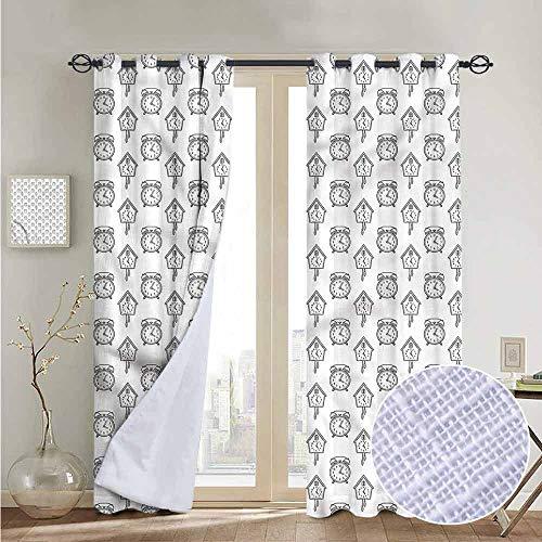 NUOMANAN Living Room Curtains Clock,Hand Drawn Monochrome Alarm,Adjustable Tie Up Shade Rod Pocket Curtain 52