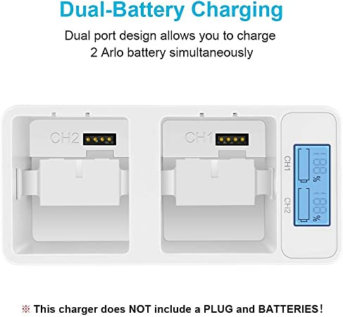 Dual Rechargeable Batteries Charging Station for Arlo Pro//Pro 2//Go Camera with Type C Port and USB C Cable Arlo Battery Charger Station