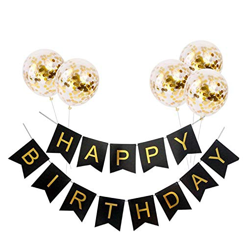 Noon-Sunshine decorative-plaques Happyations Adult Customized Birthday Party Gold Black Anniversary Decor,Balloon and -