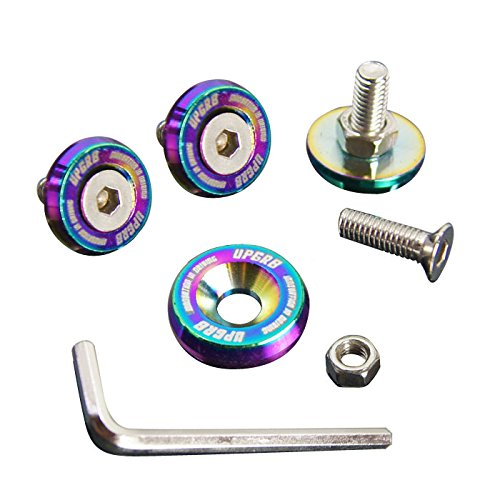 Upgr8 U8201-1011 Aluminum 10mm 4 Pieces Fender Washer Kit (Neo Chrome)