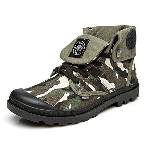 Herren freizeitschuhe kleid bergsteigen herbst outdoor canvas schuhe stiefel rutschen schwarzbraun-B Fußlänge=42EU