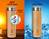 Bamboo Tea Tumbler with Infuser- 17oz Stainless Steel Thermos & Strainer, Mug for Hot/Cold Brew Coffee, Vacuum Insulated...