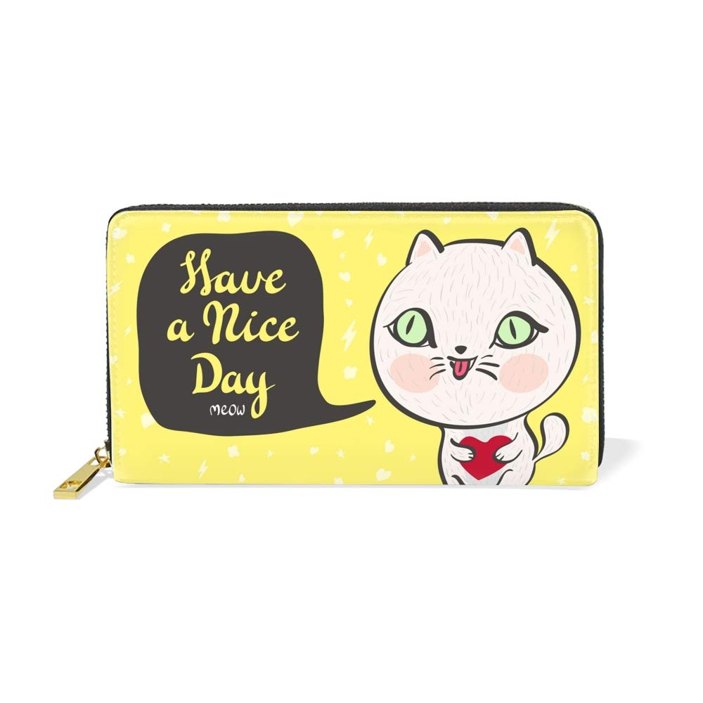 Womens Pretty Cat Large Capacity Soft Real Leather Wristlet Wallet Checkbook Passport Holder