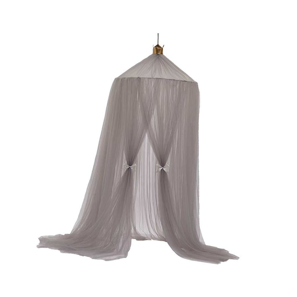 Blesiya 10 Layers Gauze Toddler Kids Mosquito Net Princess Bed Canopy Dome Netting, 3 Colors Available - Gray
