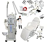 2 in 1 steamer and mag lamp - 17 in 1 Elite Series Multifunction Diamond Microdermabrasion Facial Machine & Adjustable Electric Bed Table Chair Salon Spa Beauty Equipment