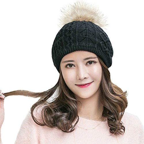 Siggi Womens Wool Knit Slouch Beanie Beret Hats Black Winter Cap with Detachable Raccoon Fur Pom (Pull On Wool Hat)
