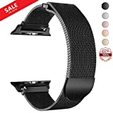 LWCUS Compatible Replacement for Apple Watch Band 38(40) 42(44)MM, Milanese Mesh Loop Stainless Steel Compatible iWatch Band with Magnetic Closure for Apple Watch Series 4 3 2 1[42(44)-Black]