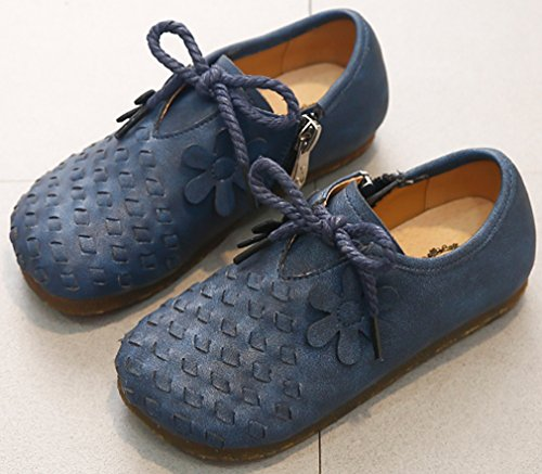 VECJUNIA Girl's Trendy Woven Round Toe Zip up Flat Shoes with Flower (Dark Blue, 10 M US Toddler) by VECJUNIA (Image #1)
