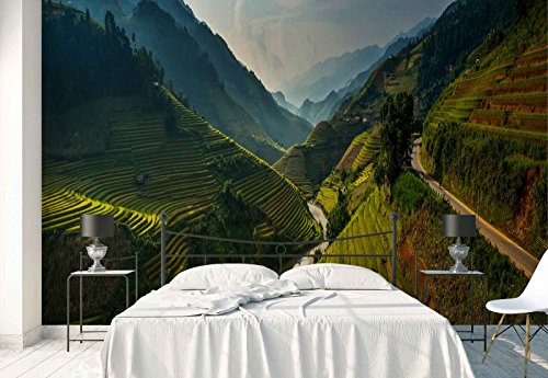 Photo wallpaper wall mural - Mountains Slope Rice Terraces - Theme Travel & Maps - XL - 12ft x 8ft 4in (WxH) - 4 Pieces - Printed on 130gsm Non-Woven Paper - 1X-692787V8 by Fotowalls Photo Wallpaper Murals