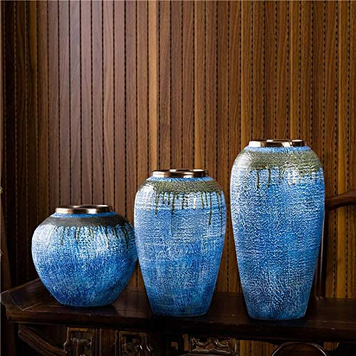 Boutique vase Ceramic vaseBlue Gold Mouth High Temperature Ceramic Bubble Color Glaze TV Cabinet Living Room Coffee Table Dining Table Theme Restaurant Decoration