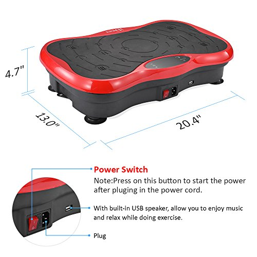 iDeer Vibration Platform Fitness Vibration Plates,Whole Body Vibration Exercise Machine w/Remote Control &Bands,Anti-Slip Fit Massage Workout Vibration Trainer Max User Weight 330lbs (Red09003) by IDEER LIFE (Image #2)