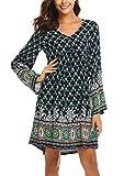 SE MIU Women 3/4 Sleeve V-Neck Vintage Bohemian Ethnic Style Floral Boho Tunic Dress