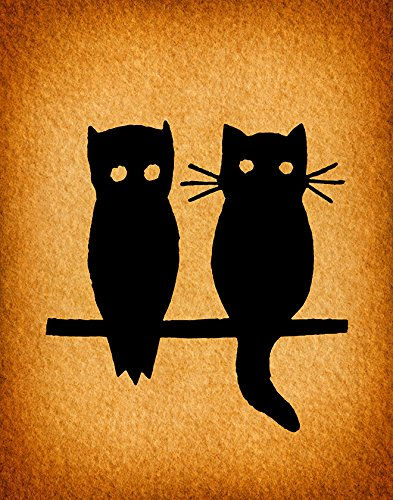 Amazon.com: Cute Owl and Cat Vintage Wall Art Animal Home Decoration ...