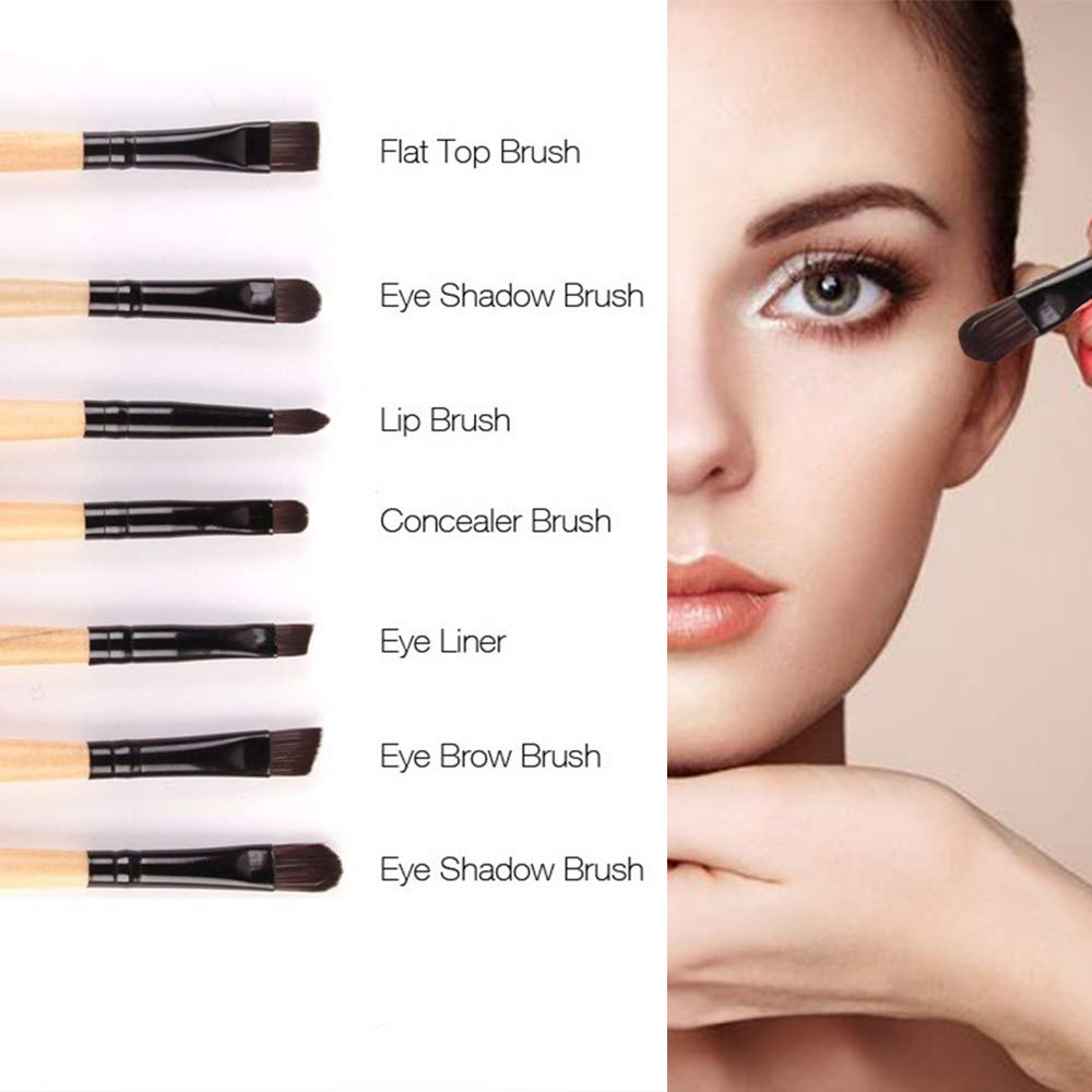 AIDUE 32Pcs Makeup Brushes Eye Brushes Eyeshadow Brush Set Blending Brushes Eyeliner Brush Eye Makeup Brushes Set Cosmetic Make Up Set + Pouch Bag Case(Wood)