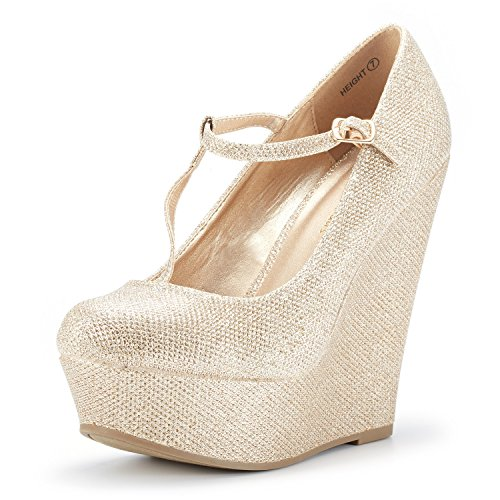 DREAM PAIRS Wedge-Height Gold Glitter Mary Jane Platform Wedges Shoes for Women Size 8.5 B(M) US