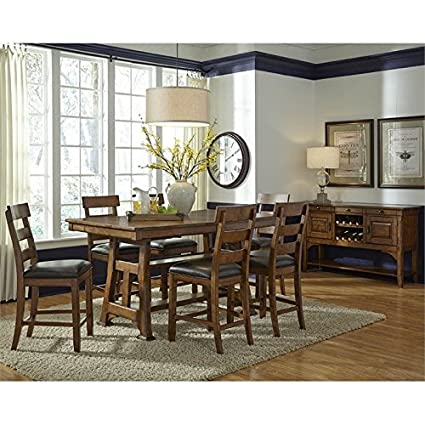 A America Ozark 8 Piece Counter Height Dining Set In Warm Pecan